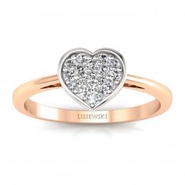 Pierścionek z białego i różowego złota z diamentami - p16018cb