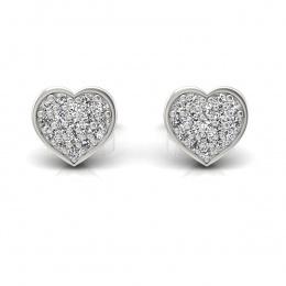 Złote kolczyki serca z diamentami - k16018b