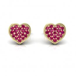 Kolczyki serca z rubinami żółte złoto - k16018zr