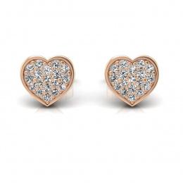 Kolczyki serca z brylantami różowe złoto - k16018c