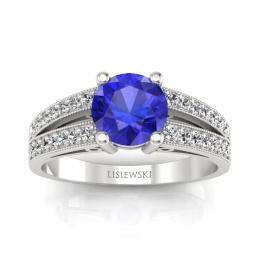 Pierścionek zaręczynowy z szafirem cejlonskim i brylantami - p16027bszc