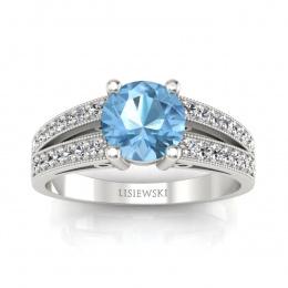 Pierścionek zaręczynowy topazem i brylantami - p16027ba