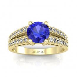 Pierścionek zaręczynowy z szafirem cejlońskim i brylantami - p16027zszc
