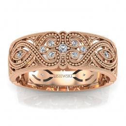 Obrączka z diamentami różowe złoto - p16282c
