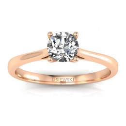 Pierścionek zaręczynowy z brylantami różowe złoto - p16205c