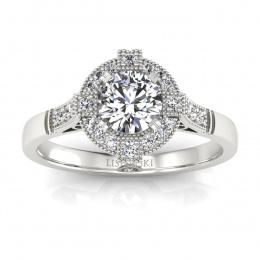 Złoty pierścionek zaręczynowy z brylantami - 15098b