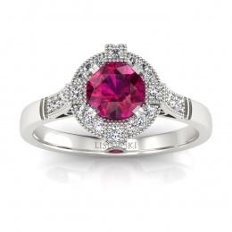 Złoty pierścionek z rubinem i brylantami - 15098br
