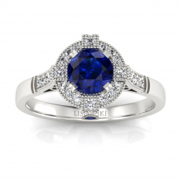 Pierścionek zaręczynowy z szafirem i  brylantami - 15098bsz