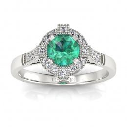 Złoty pierścionek zaręczynowy ze szmaragdem i brylantami - 15098bsm