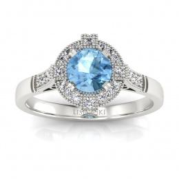 Złoty pierścionek z topazem i brylantami - P15098ba