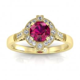 Złoty pierścionek z rubinem i brylantami - 15098zr