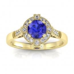 Pierścionek zaręczynowy z tanzanitem i brylantami - p15098zszc