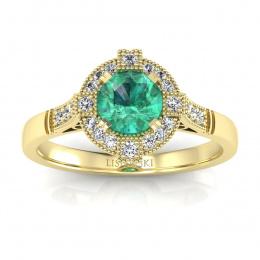 Złoty pierścionek  ze szmaragdem i brylantami - 15098zsm