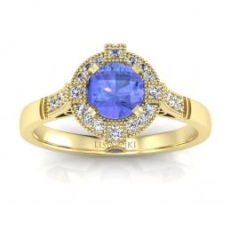 Złoty pierścionek zaręczynowy z tanzanitem i brylantami - 15098zt