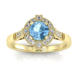 Pierścionek zaręczynowy z topazem i brylantami - p15098za