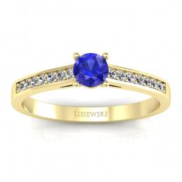 Złoty pierścionek z szafirem cejlońskim i brylantami - p16312zszc