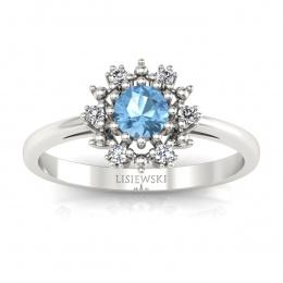 Złoty pierścionek zaręczynowy z topazem i brylantami - p15077ba