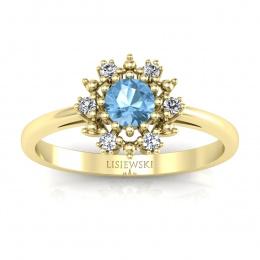 Złoty pierścionek zaręczynowy z topazem i brylantami - p15077za