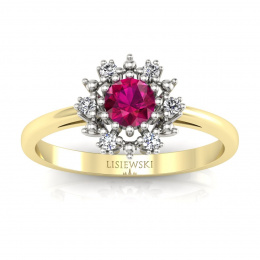Złoty pierścionek z rubinem i brylantami - p15077zbr