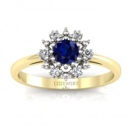 Złoty pierścionek zaręczynowy z szafirem i brylantami - p15077zbsz