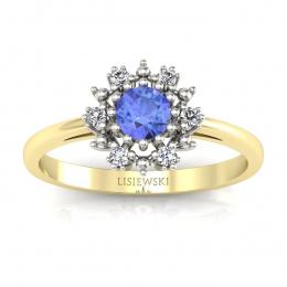 Złoty pierścionek zaręczynowy z tanzanitem i brylantami - p15077zbt