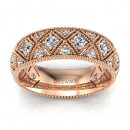 Złota obrączka z diamentami - p16064c