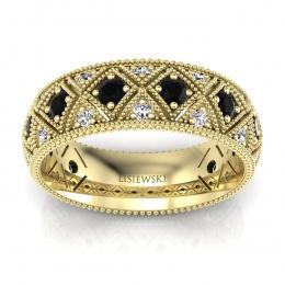 Złota obrączka z czarnymi diamentami - p16064zcd
