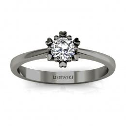 Pierścionek zaręczynowy z diamentem czarne złoto - p16782cz
