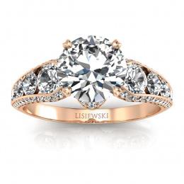 Złoty pierścionek z brylantami - p15280c