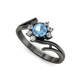 Pierścionek zaręczynowy z topazem, czarne złoto, brylanty - p15244cztp