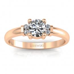 Pierścionek zaręczynowy różowe złoto brylanty - P15213c