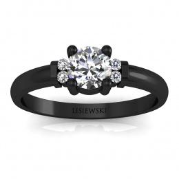 Pierścionek zaręczynowy czarne złoto brylanty - P15213cz