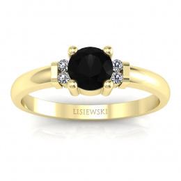 Pierścionek zaręczynowy czarny diament brylanty - P15213zcd