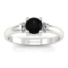 Pierścionek zaręczynowy czarny diament brylanty - P15213bcd