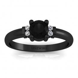 Pierścionek zaręczynowy czarne złoto czarny diament - P15213czcd