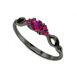 Pierścionek zaręczynowy z rubinami czarne złoto - P16907czr