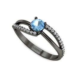 Pierścionek zaręczynowy z topazem brylant czarne złoto - p16333cztp