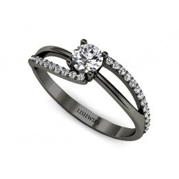 Zaręczynowy pierścionek z czarnego złota brylanty - p16333czd