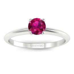 Pierścionek zaręczynowy z rubinem białe złoto - p16365br