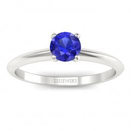 Zaręczynowy pierścionek z szafirem białe złoto - p16365bszc