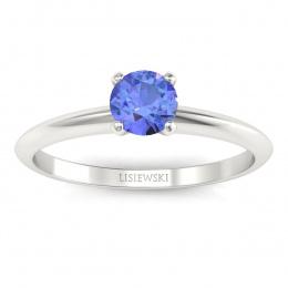 Zaręczynowy pierścionek z tanzanitem białe złoto - p16365bt