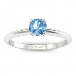 Zaręczynowy pierścionek z topazem białe złoto - p16365btp