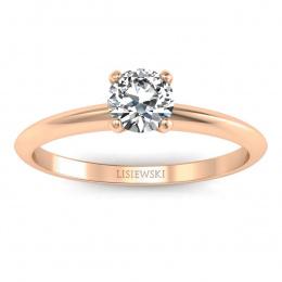 Zaręczynowy pierścionek różowe złoto brylant - p16365c
