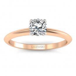 Pierścionek zaręczynowy z brylantem różowe białe złoto - p16365cb