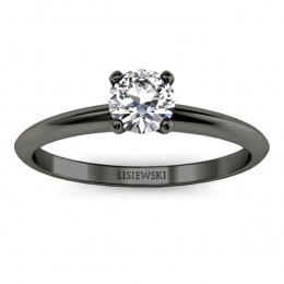 Pierścionek zaręczynowy z czarnego złota brylant - p16365czd