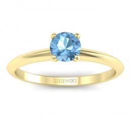 Zaręczynowy pierścionek z topazem żółte złoto - p16365ztp