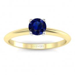 Pierścionek zaręczynowy z szafirem dwukolorowe złoto - p16365zbsz