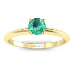 Zaręczynowy pierścionek z szmaragdem żółte złoto - p16365zsm