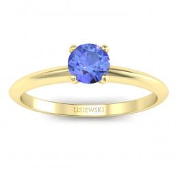 Zaręczynowy pierścionek z tanzanitem żółte złoto - p16365zt