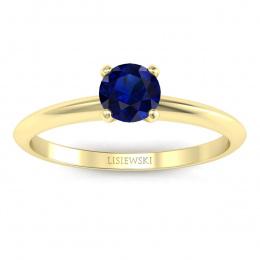 Pierścionek zaręczynowy z szafirem z żółtego złota - p16365zsz